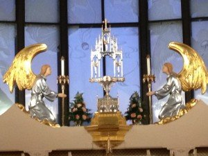 The monstrance in the chapel. (No host there, I was not taking pictures during adoration!)
