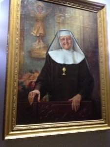 Oil painting of Mother Angelica, founder of EWTN, outside the chapel area.