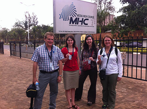 The 2013 Egan Journalism Fellows at the Media High Council in Kigali, Rwanda. Lisa Hendey on far right. Credit: Photo by Kim Pozniak/CRS