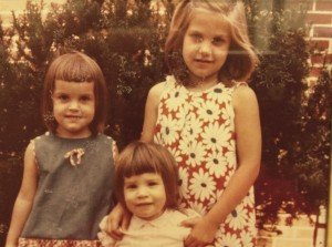 Circa 1966, Backyard 25 Sheppard Lane, Huntington. L to R: Peg, Pam, Pat