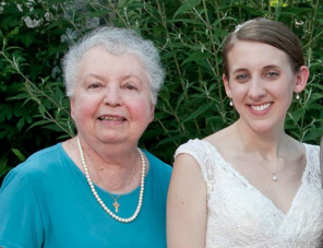 My mom with my daughter Katie on her wedding day, last July 2013.