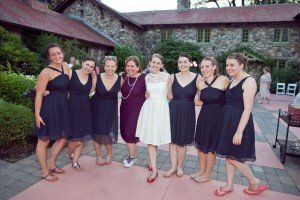 Loved the navy on the bridesmaids! Good friends!