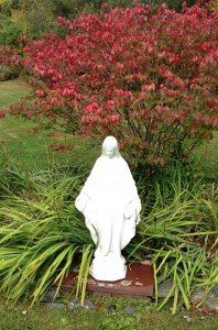 "Mary, with the ""burning bush"" behind her."