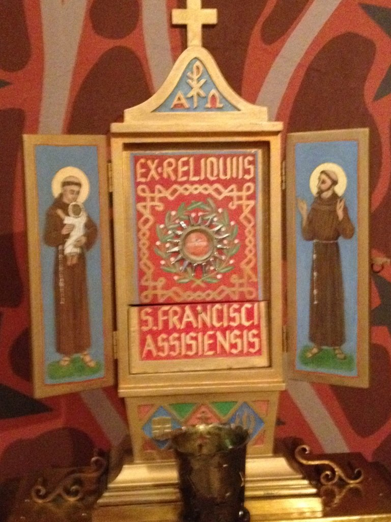 Reliquary for St Francis of Assisi, the church patron and patron of the Hospital Sisters' religious order.